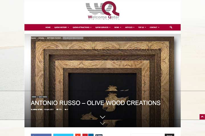 Olive Wood Creation della rivista Welcomeqtar - antonio russo